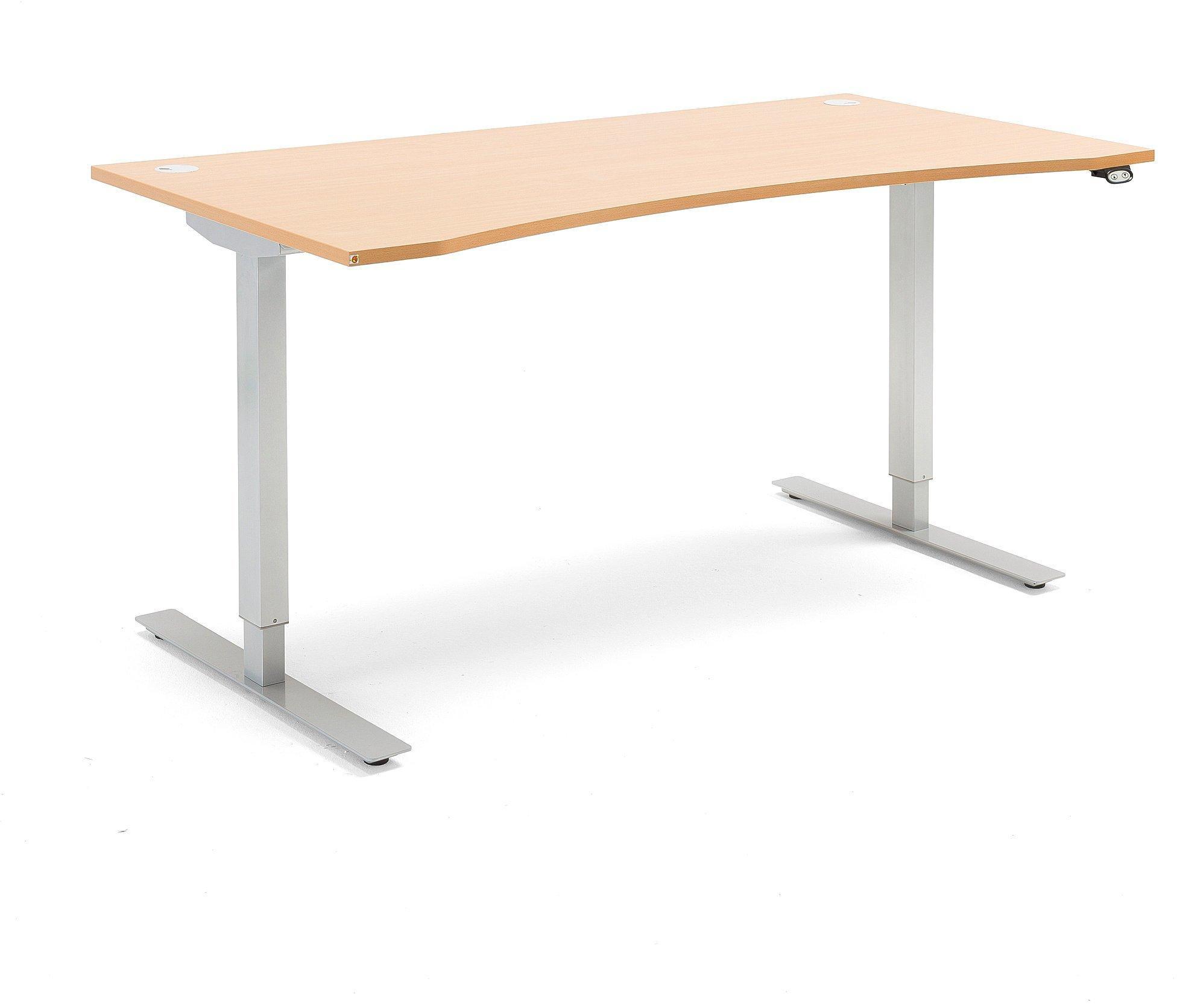 Výškovo nastaviteľný stôl Flexus, s vykrojením, 1600x800 mm, buk