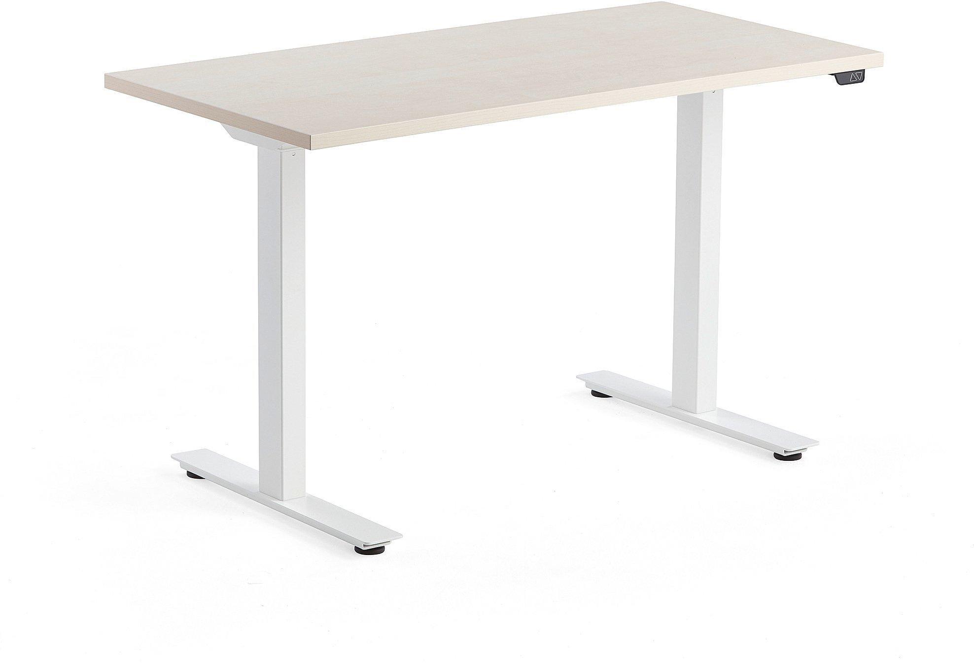 Výškovo nastaviteľný stôl Modulus, 1200x600 mm, biela, breza