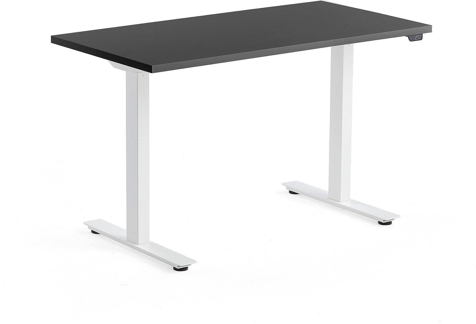 Výškovo nastaviteľný stôl Modulus, 1200x600 mm, biela, čierna