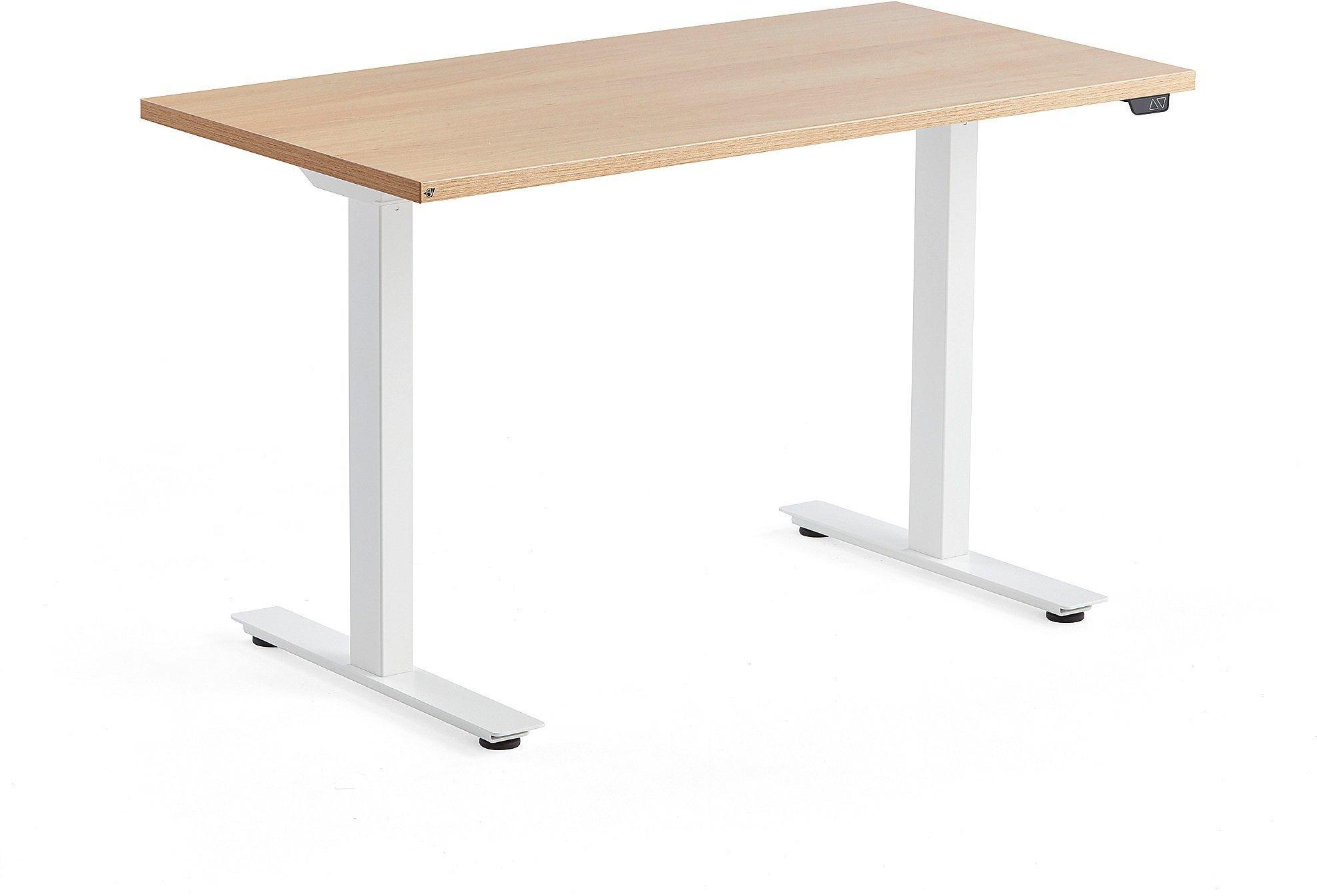 Výškovo nastaviteľný stôl Modulus, 1200x600 mm, biela, dub