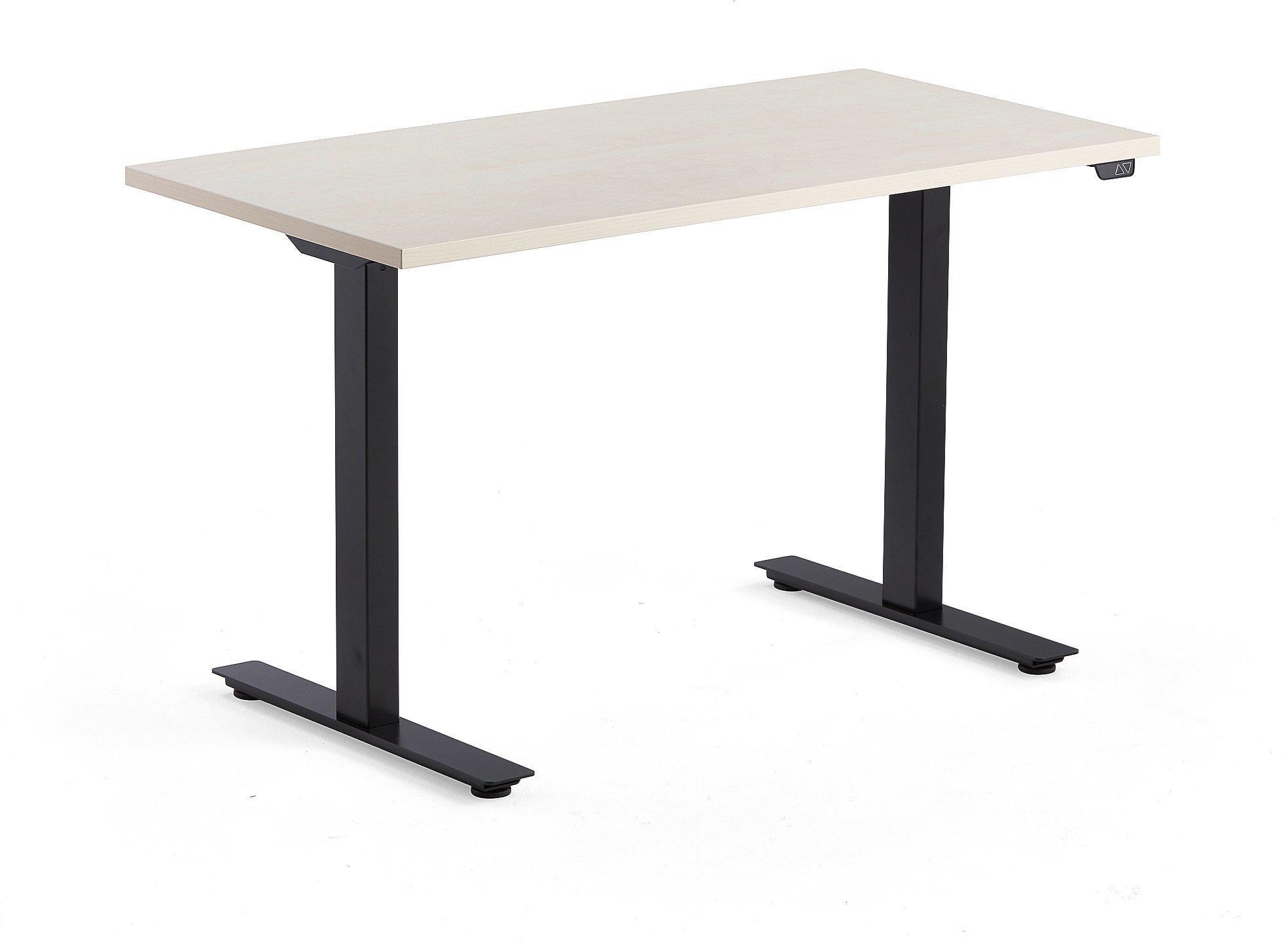 Výškovo nastaviteľný stôl Modulus, 1200x600 mm, čierna, breza