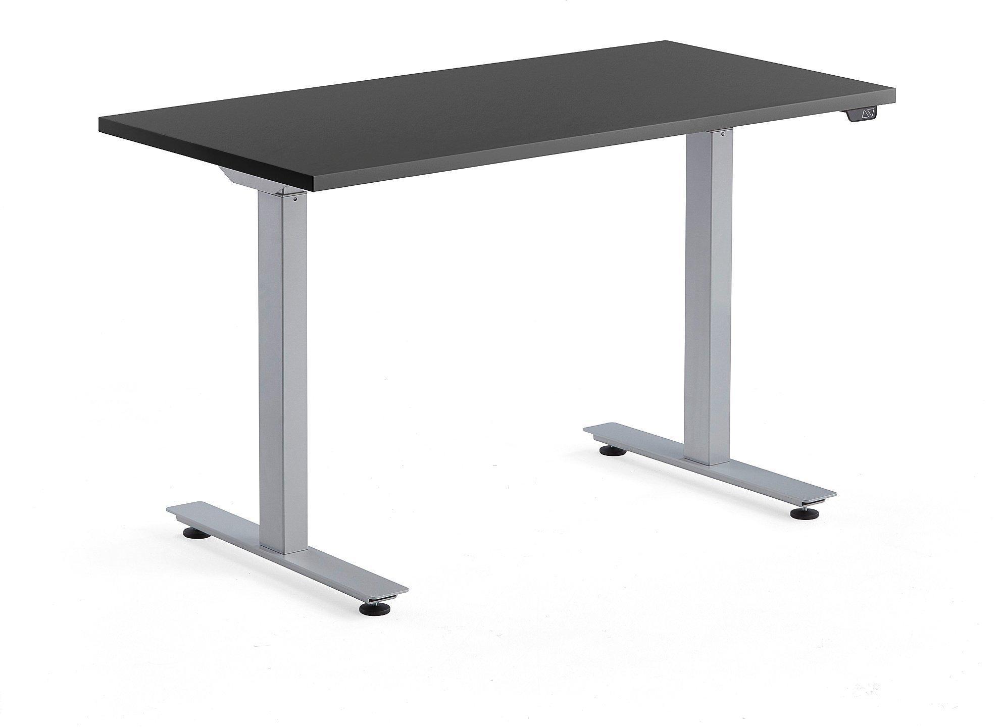Výškovo nastaviteľný stôl Modulus, 1200x600 mm, strieborná, čierna