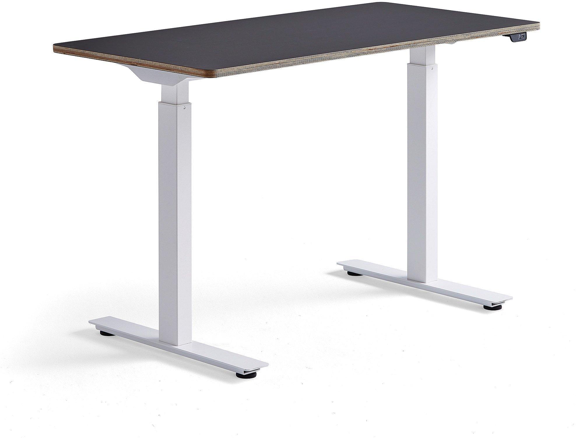 Výškovo nastaviteľný stôl Novus, 1200x600 mm, biely rám, čierna doska