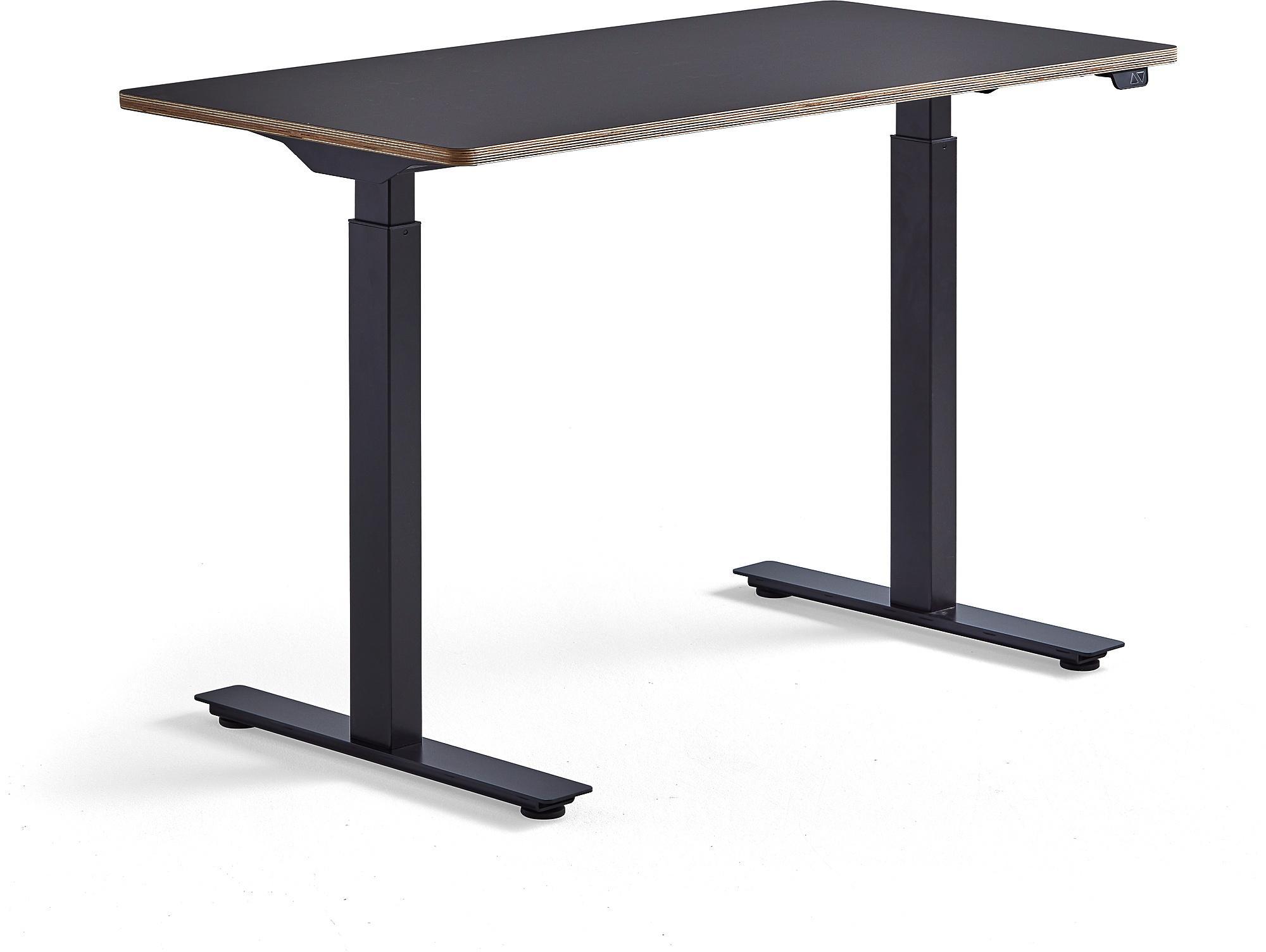 Výškovo nastaviteľný stôl Novus, 1200x600 mm, čierny rám, čierna doska
