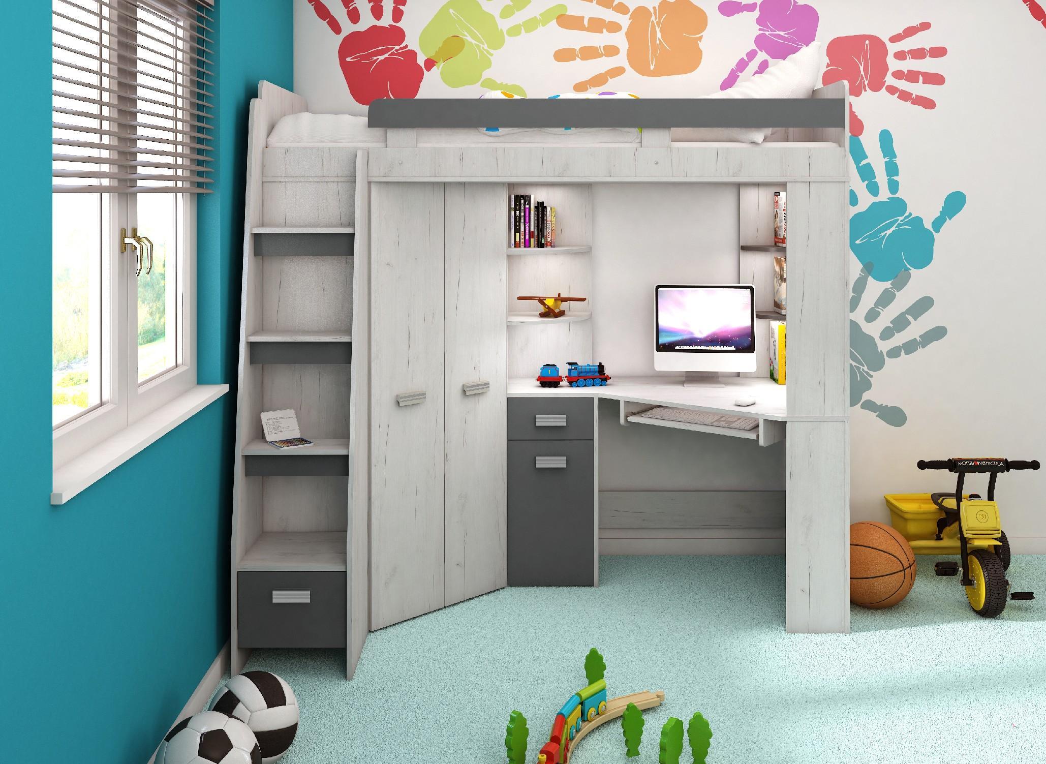 WIP Detská rohová vyvýšená posteľ ANTRESOLA Farba: Craft biely / grafit, ľavý