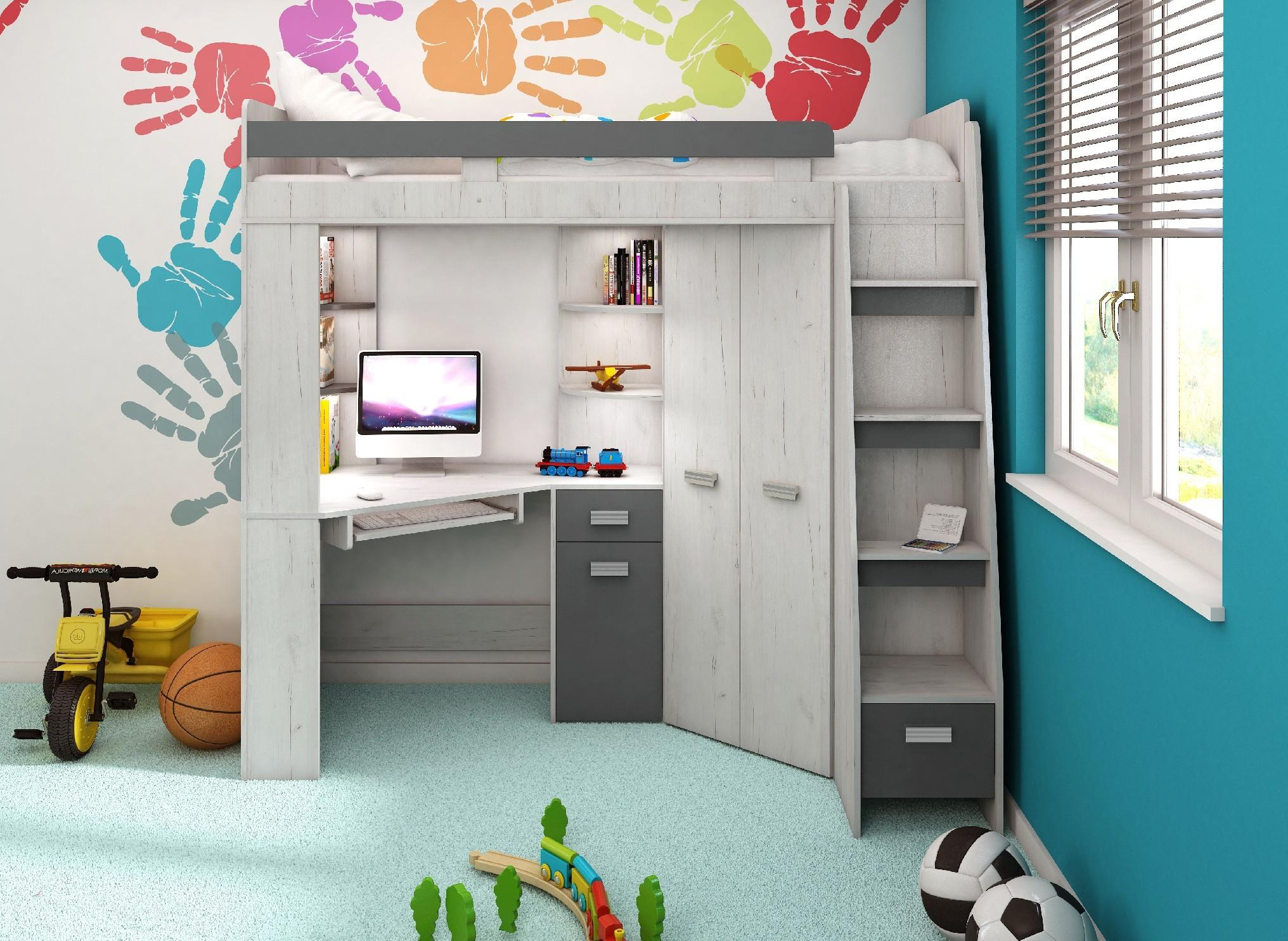 WIP Detská rohová vyvýšená posteľ ANTRESOLA Farba: Craft biely / grafit, pravý