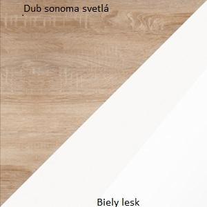 WIP Komoda Angel 04 Farba: Dub sonoma svetlý / biely lesk