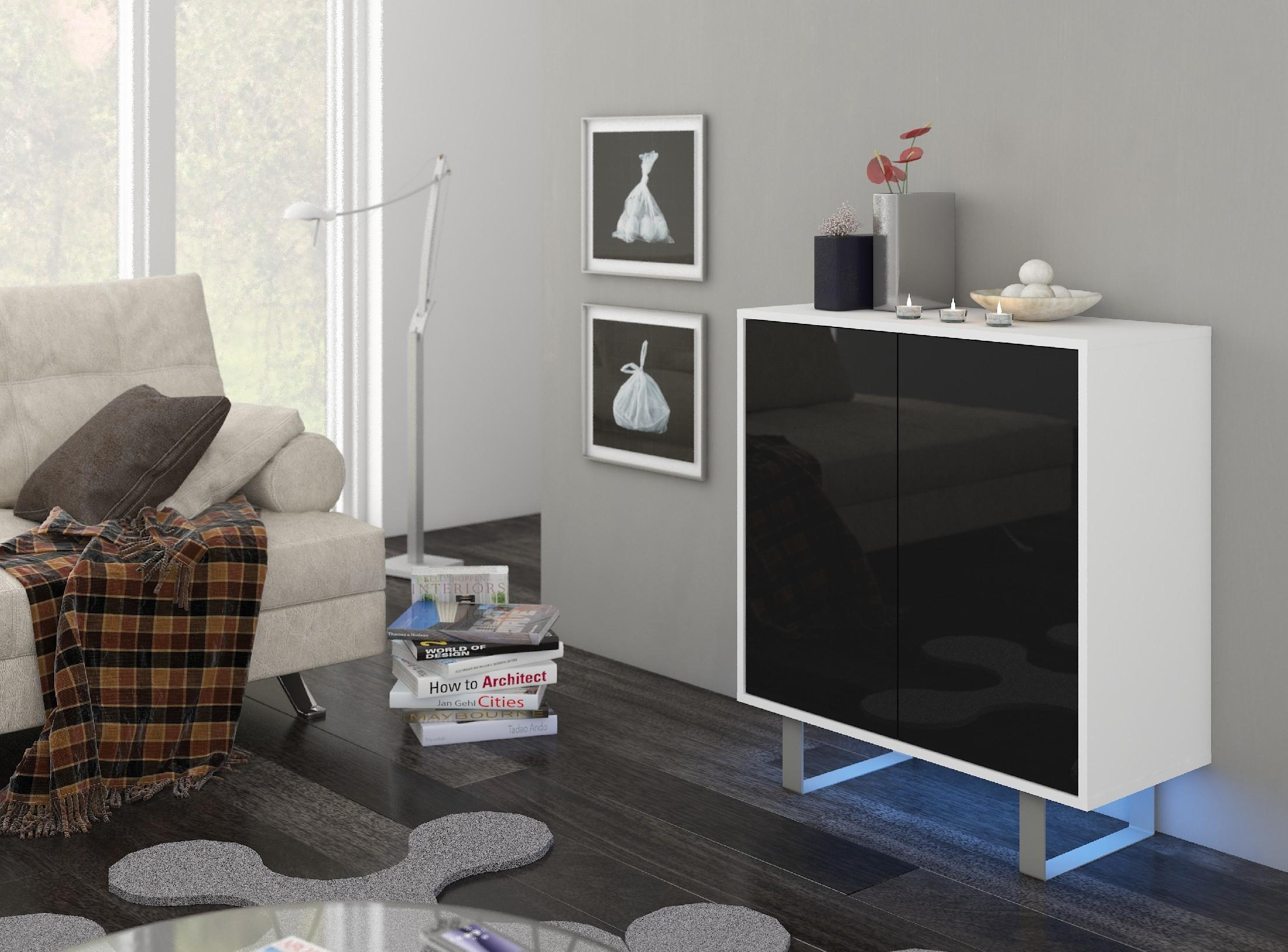 WIP Komoda King 03 Farba: Biela / čierny lesk