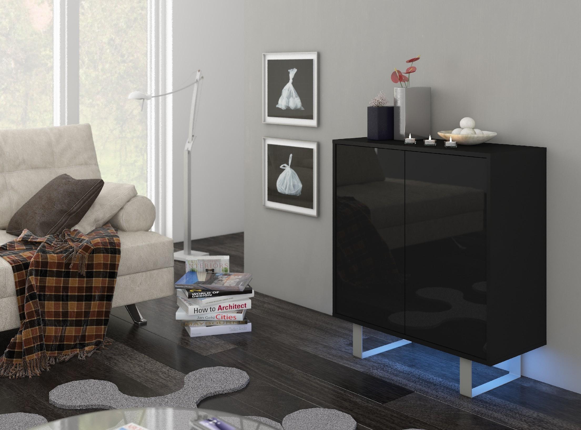 WIP Komoda King 03 Farba: čierna / čierny lesk