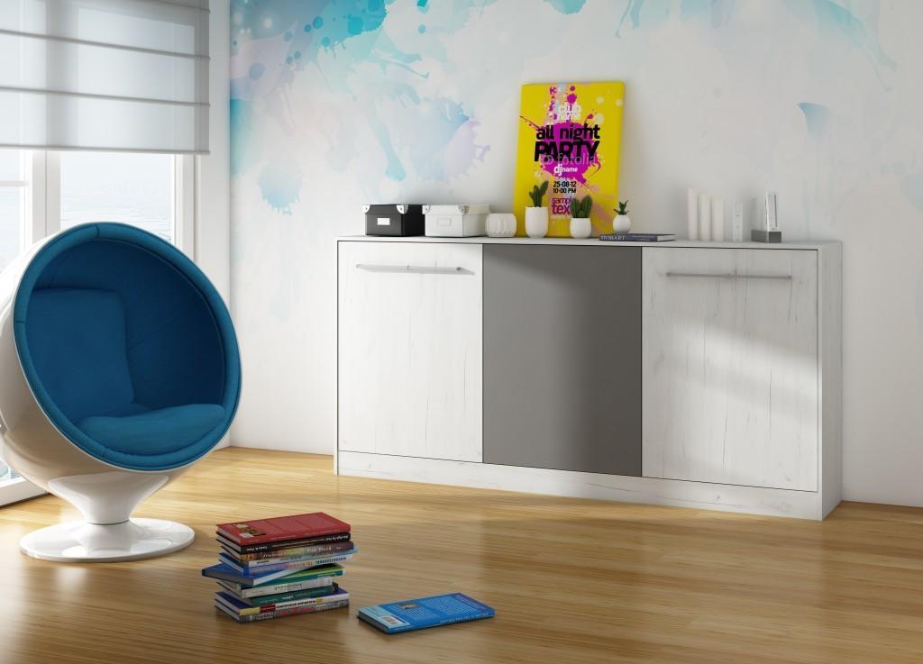 WIP Moderná sklápacia posteľ ROGER Farba: dub sonoma svetlý/biela