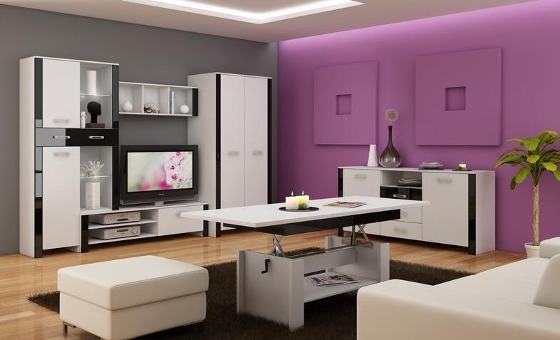 WIP Obývacia stena HUGO II Farba: Biela / čierny lesk