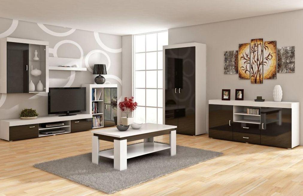 WIP Obývacia stena MAMBA Farba: Biela / čierny lesk