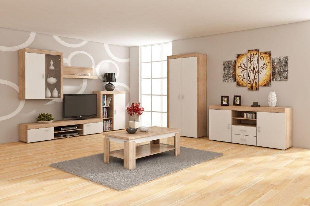 WIP Obývacia stena MAMBA Farba: Dub sonoma svetlá / biely lesk