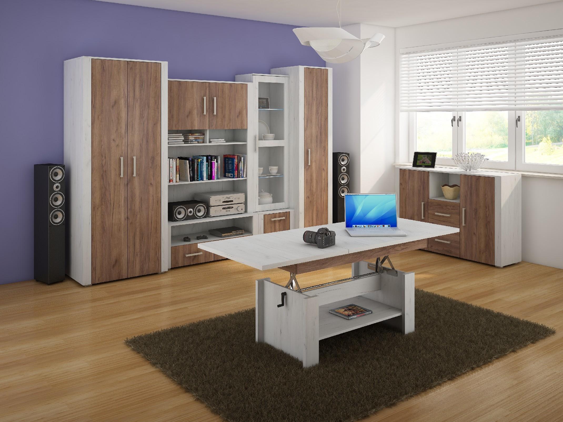 WIP Obývacia stena NOTTI 2 Farba: craft biely / craft tobaco / craft biely