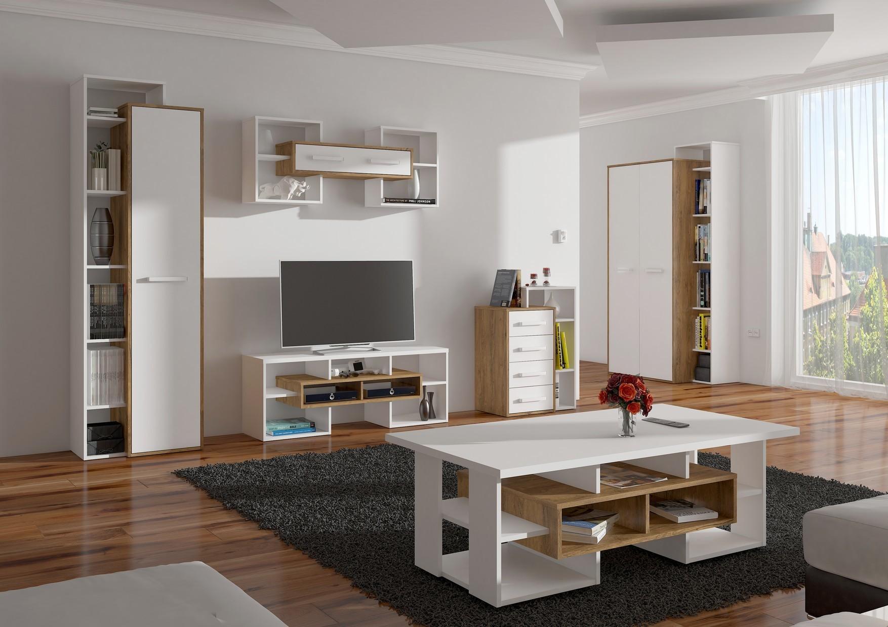 WIP Obývacia stena RIO 2 Farba: dub burgund/biela lesk