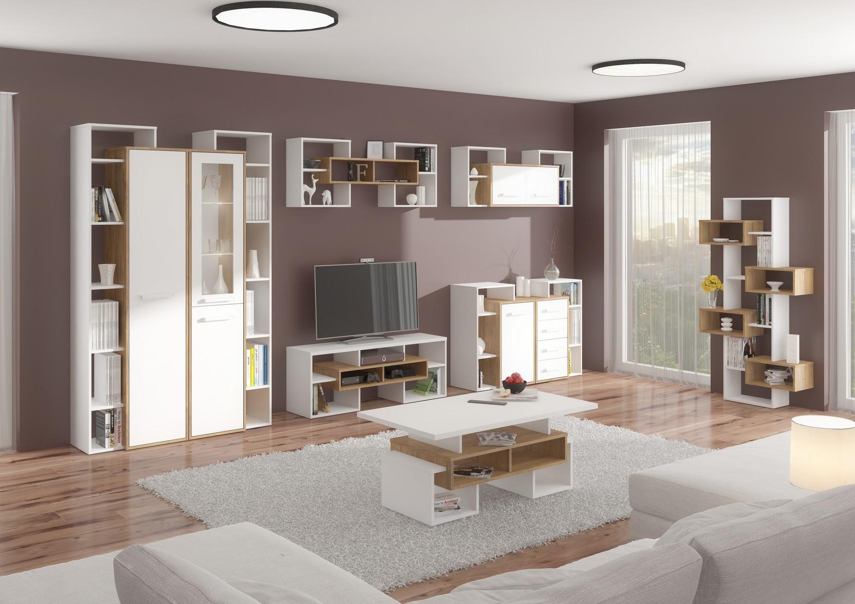 WIP Obývacia stena RIO 7 Farba: dub burgund/biela lesk