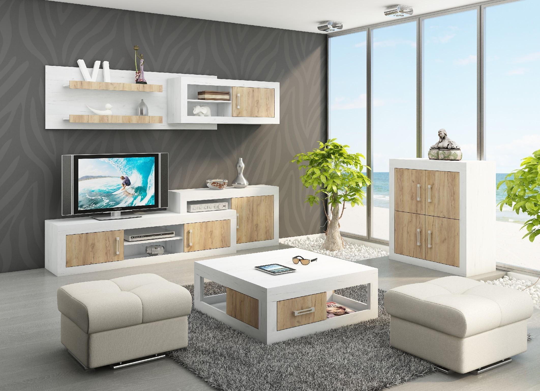 WIP Obývacia stena VERIN 1 Farba: Craft biely / craft zlatý