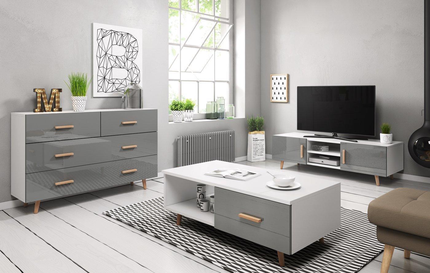 WIP TV stolík SWEDEN 2 Farba: Biela / sivý lesk