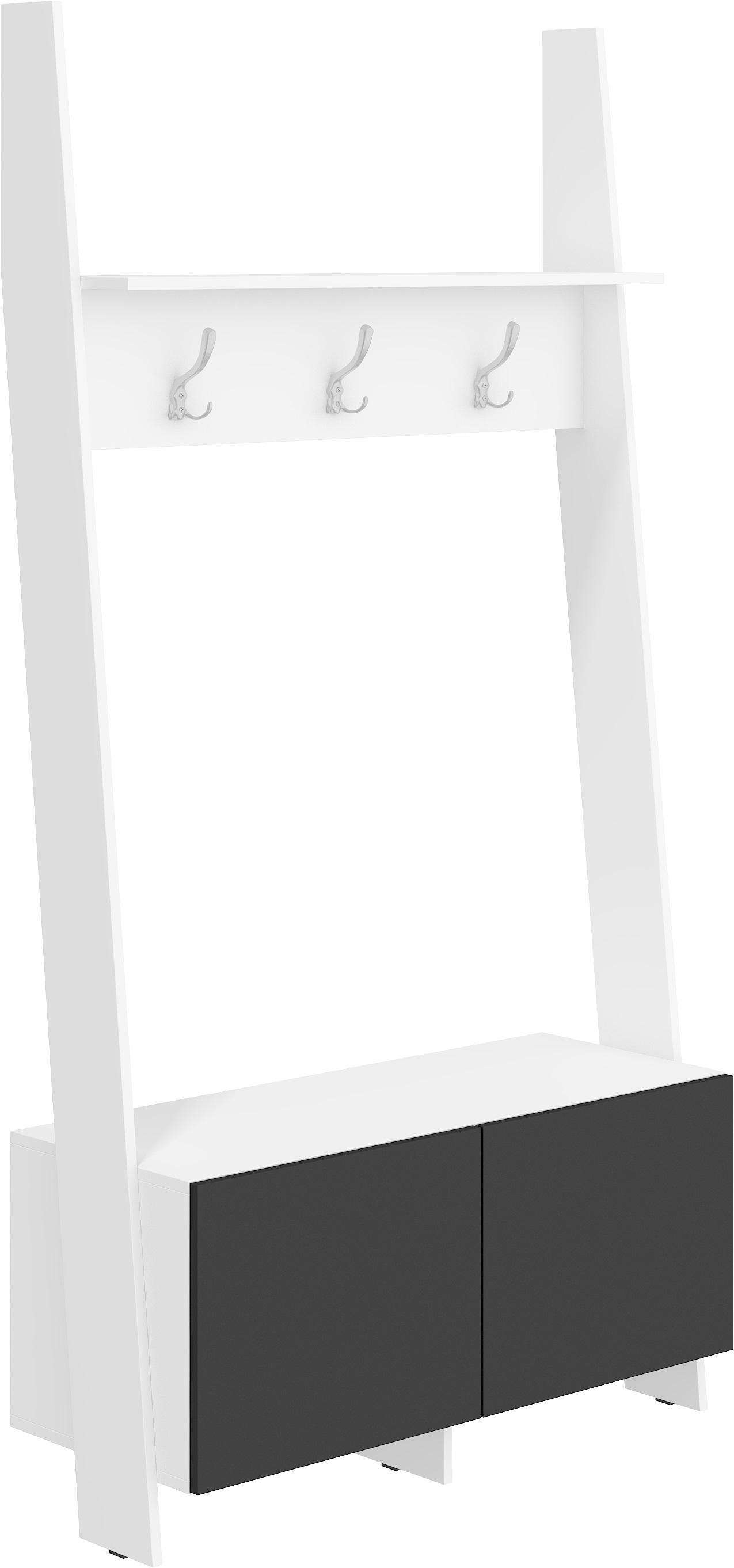 WIP Vešiaková stena Rack 10 Farba: Biela / čierny lesk