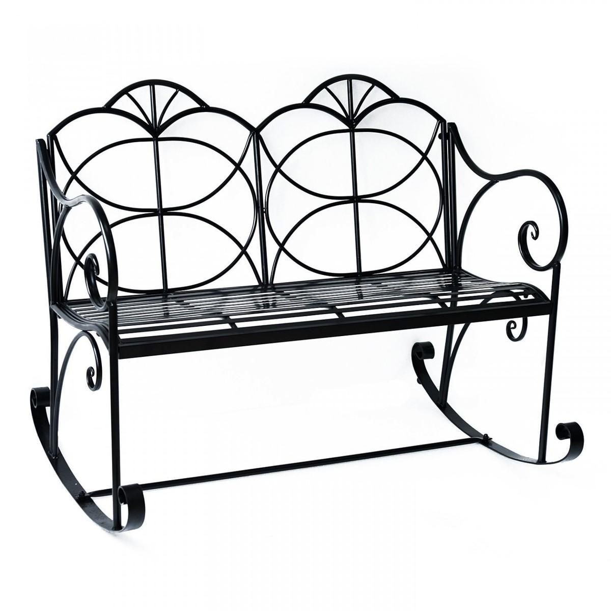 Záhradná hojdacia lavička - čierna