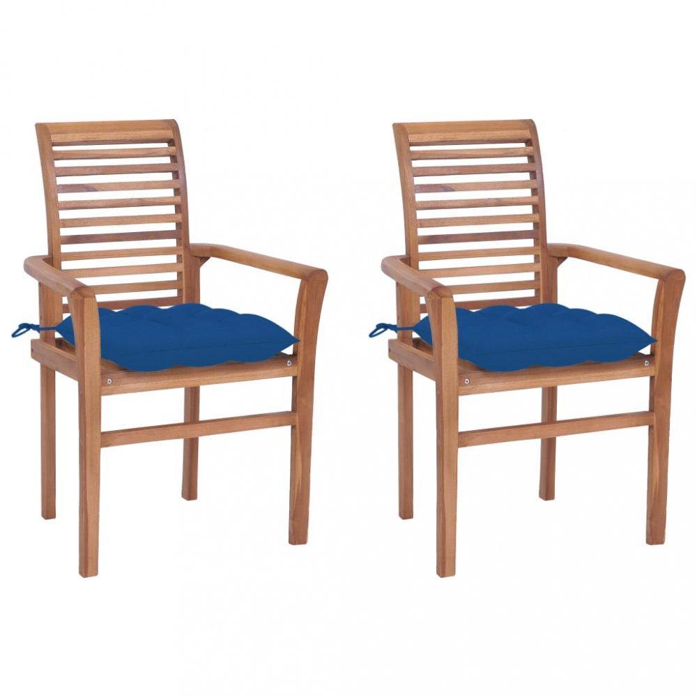 Záhradná jedálenská stolička s poduškou 2 ks teak Dekorhome Modrá