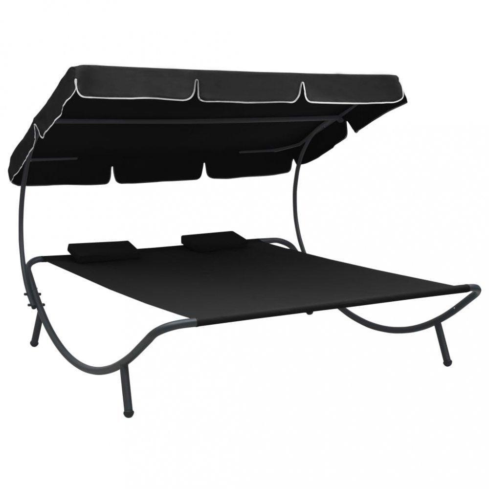 Záhradná posteľ látka / kov Dekorhome Čierna