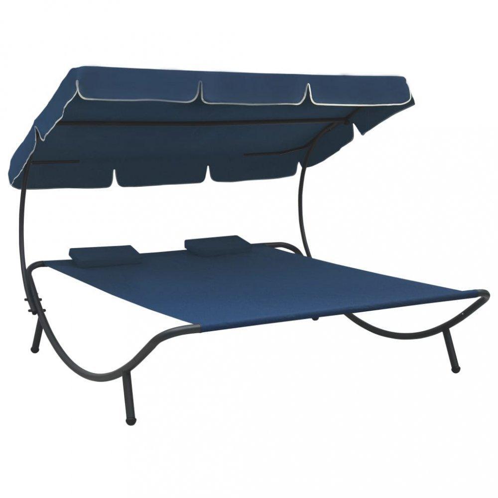Záhradná posteľ látka / kov Dekorhome Modrá