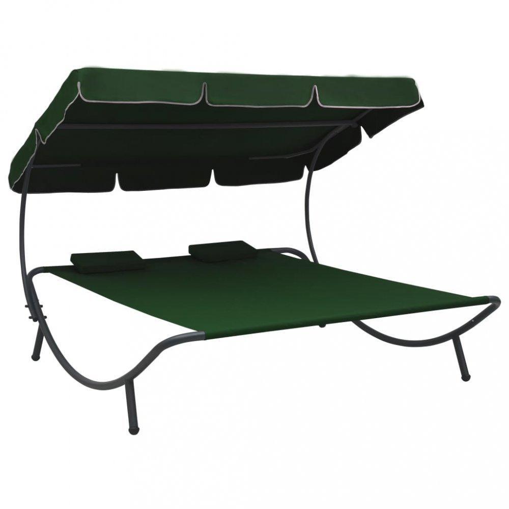 Záhradná posteľ látka / kov Dekorhome Zelená
