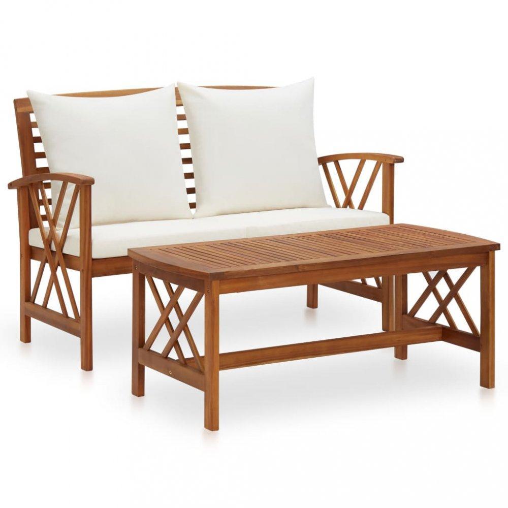 Záhradná sedacia súprava 2 ks akácie / látka Dekorhome Krémová