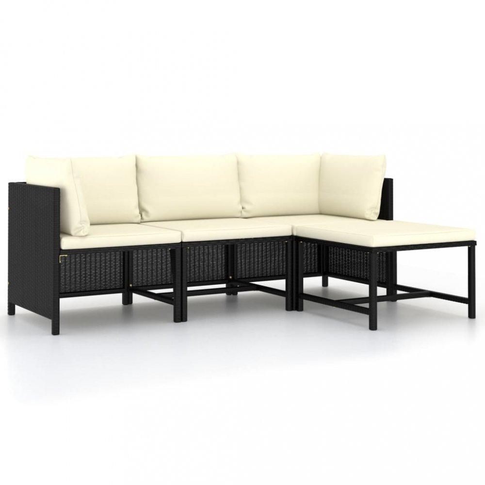 Záhradná sedacia súprava 4 ks čierna / krémová Dekorhome
