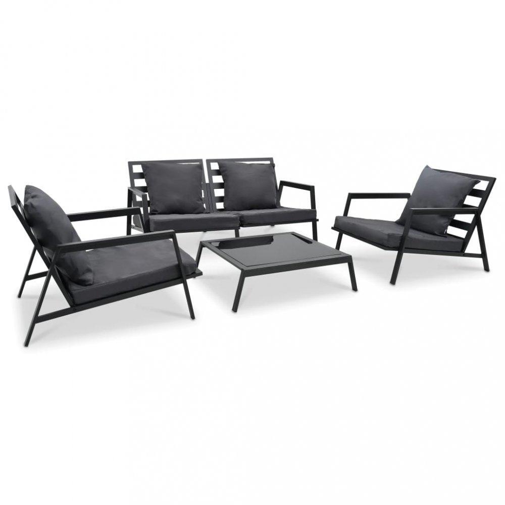 Záhradná sedacia súprava 4 ks čierna / sivá Dekorhome