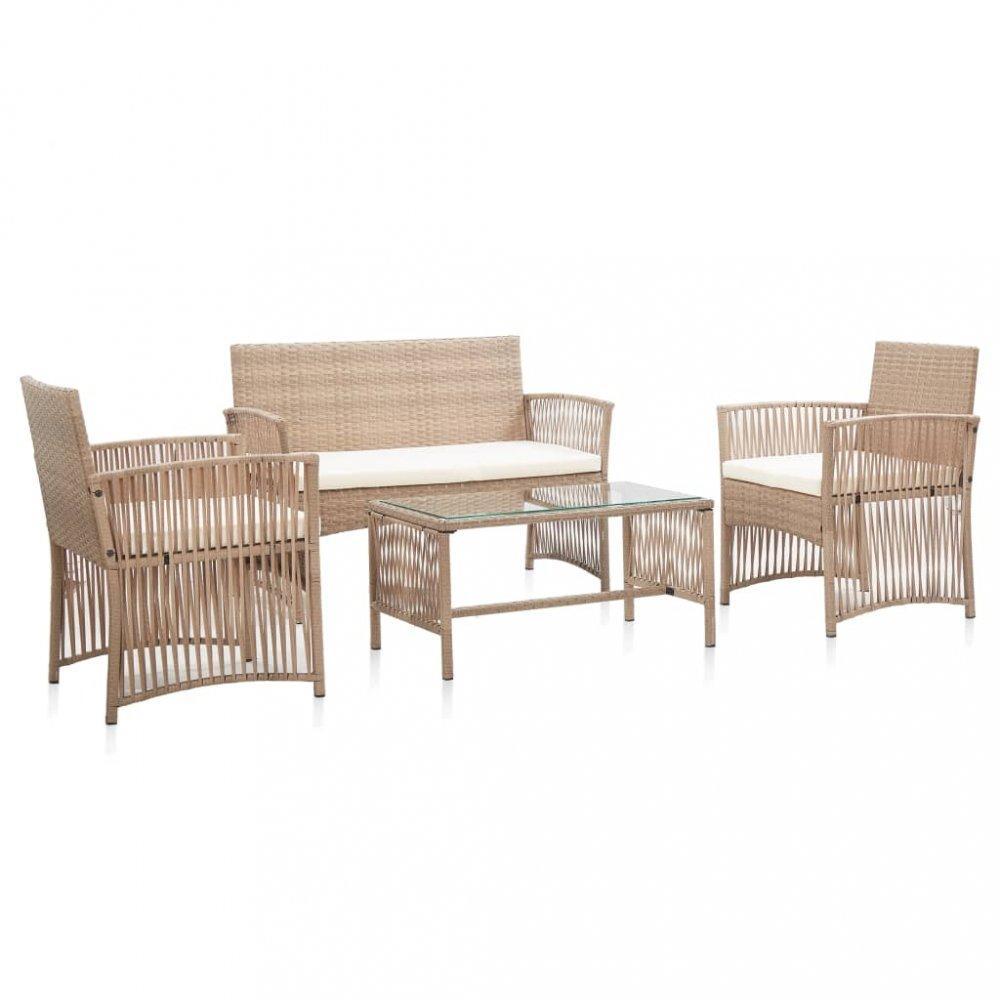 Záhradná sedacia súprava 4 ks polyratan Dekorhome Béžová
