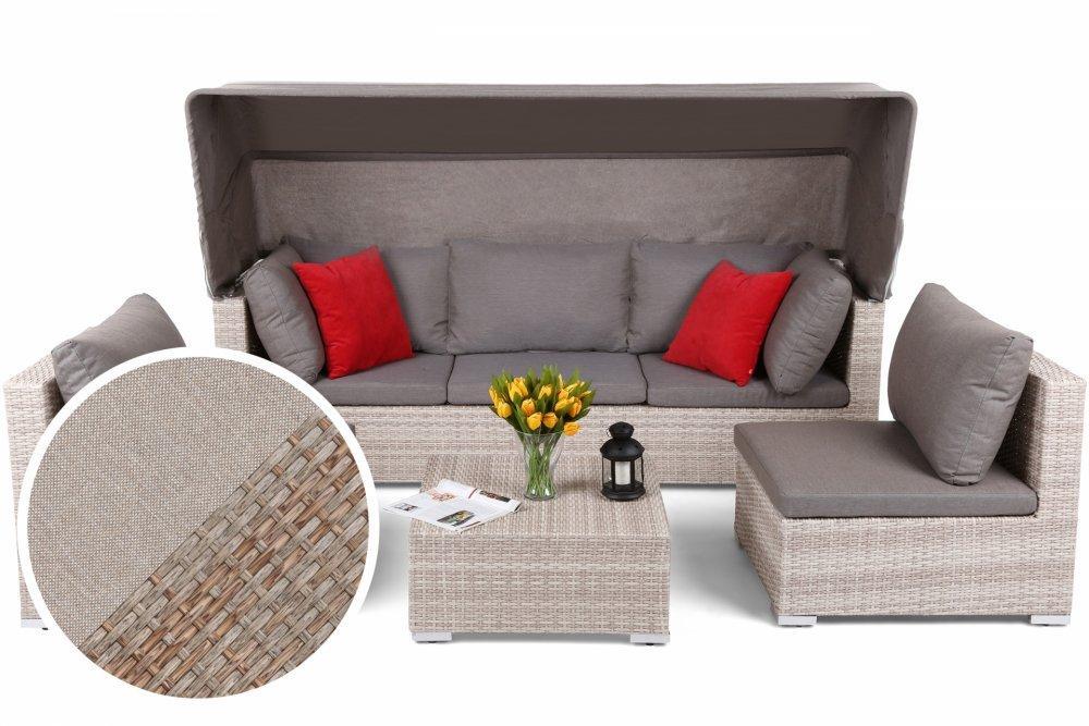Záhradná sedacia súprava 4 ks umelý ratan / látka Prírodná