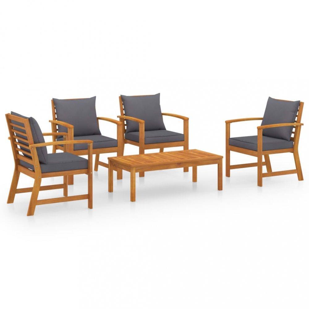 Záhradná sedacia súprava 5 ks akácie / látka Dekorhome Tmavosivá