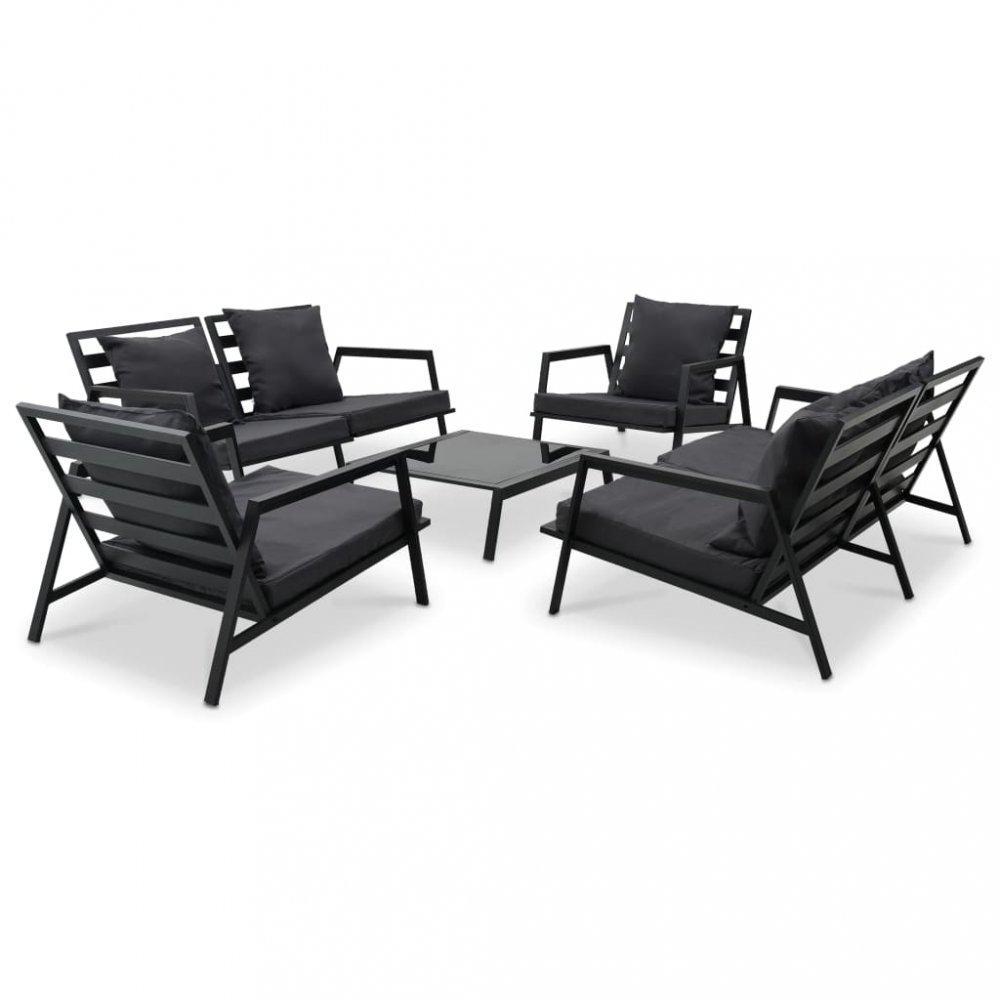 Záhradná sedacia súprava 5 ks čierna / sivá Dekorhome