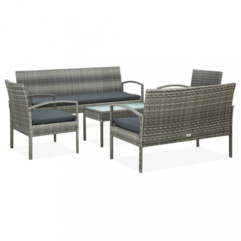 Záhradná sedacia súprava 5 ks polyratan / látka / sklo Dekorhome Sivá