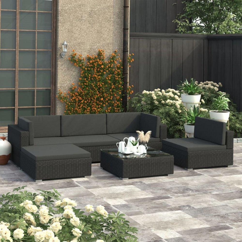 Záhradná sedacia súprava 6ks čierny polyratan Dekorhome
