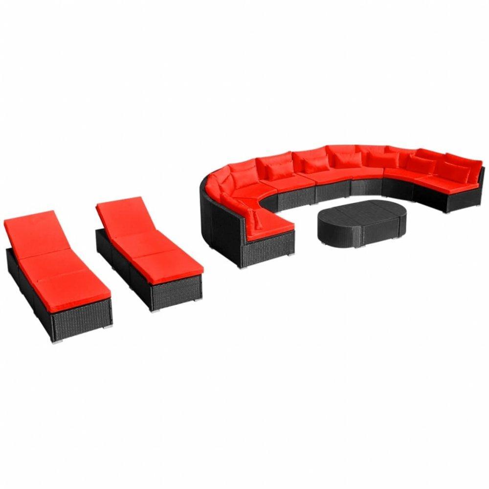 Záhradná sedacia súprava s 2 ležadlami Dekorhome Červená