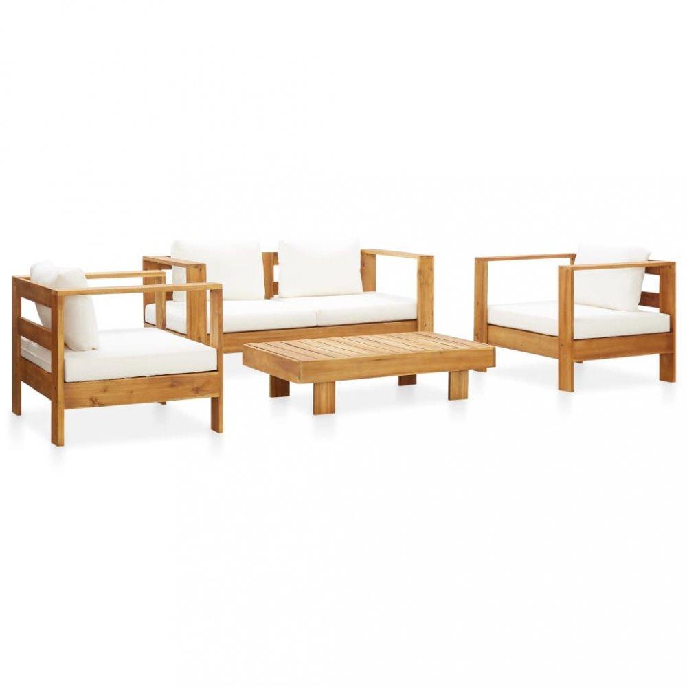 Záhradná sedacia súprava s poduškami akáciové drevo Dekorhome Krémová