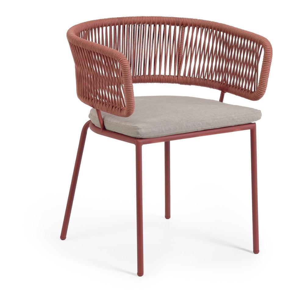 Záhradná stolička s oceľovou konštrukciou a hnedým výpletom La Forma Nadin