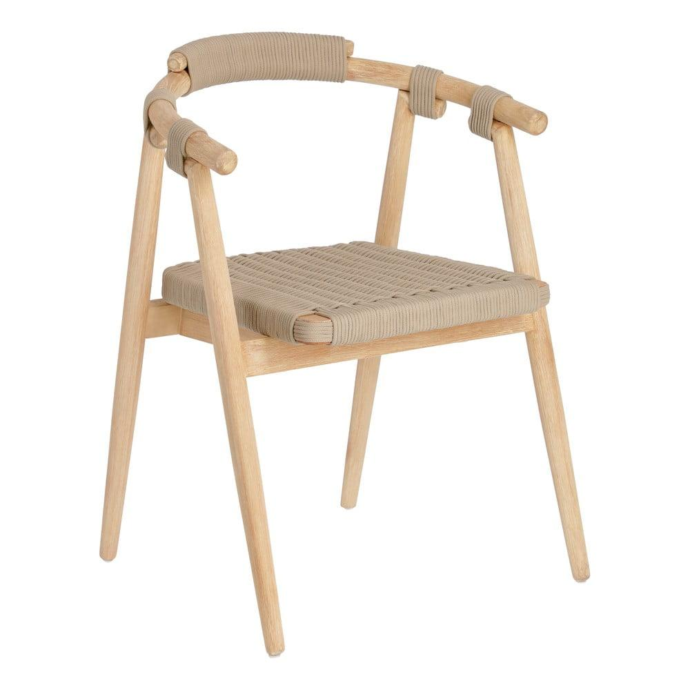 Záhradná stolička z eukalyptového dreva s béžovým výpletom La Forma Majela