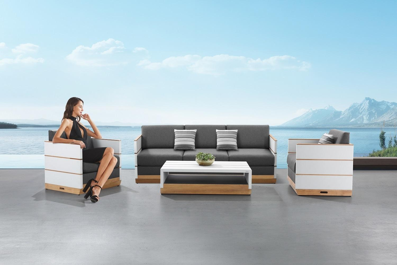 Záhradná zostava HIGOLD - Nutt Lounge White/Grey Wood base Sunbrella