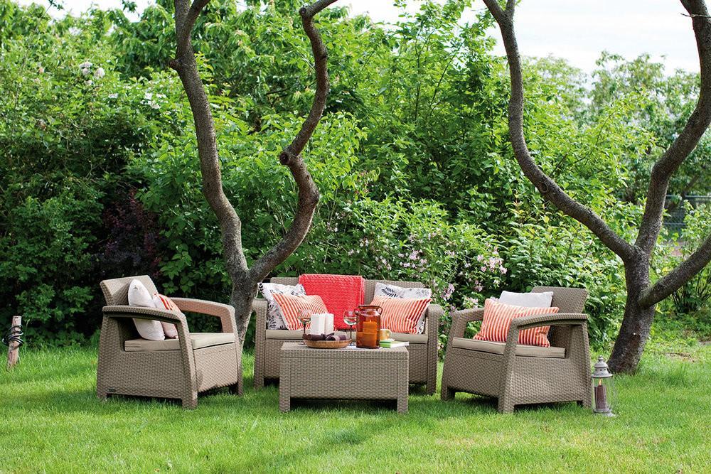 Záhradná zostava MODERN OXFORD set - cappuccino + pieskové podušky