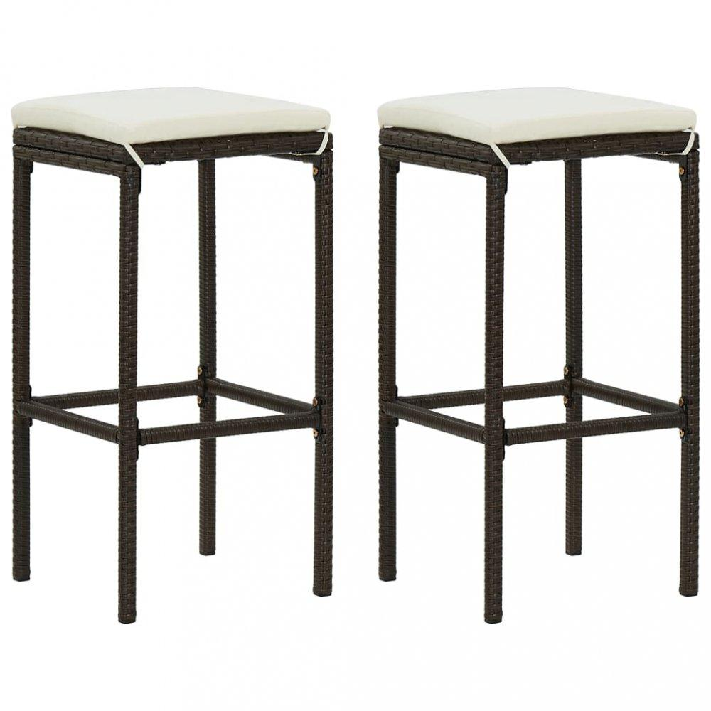 Záhradné barové stoličky 2 ks polyratan / látka Dekorhome Hnedá