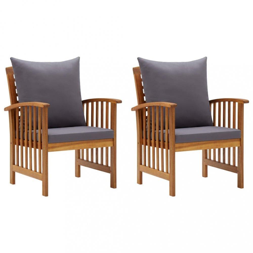Záhradné stoličky 2 ks akácie / látka Dekorhome Sivá