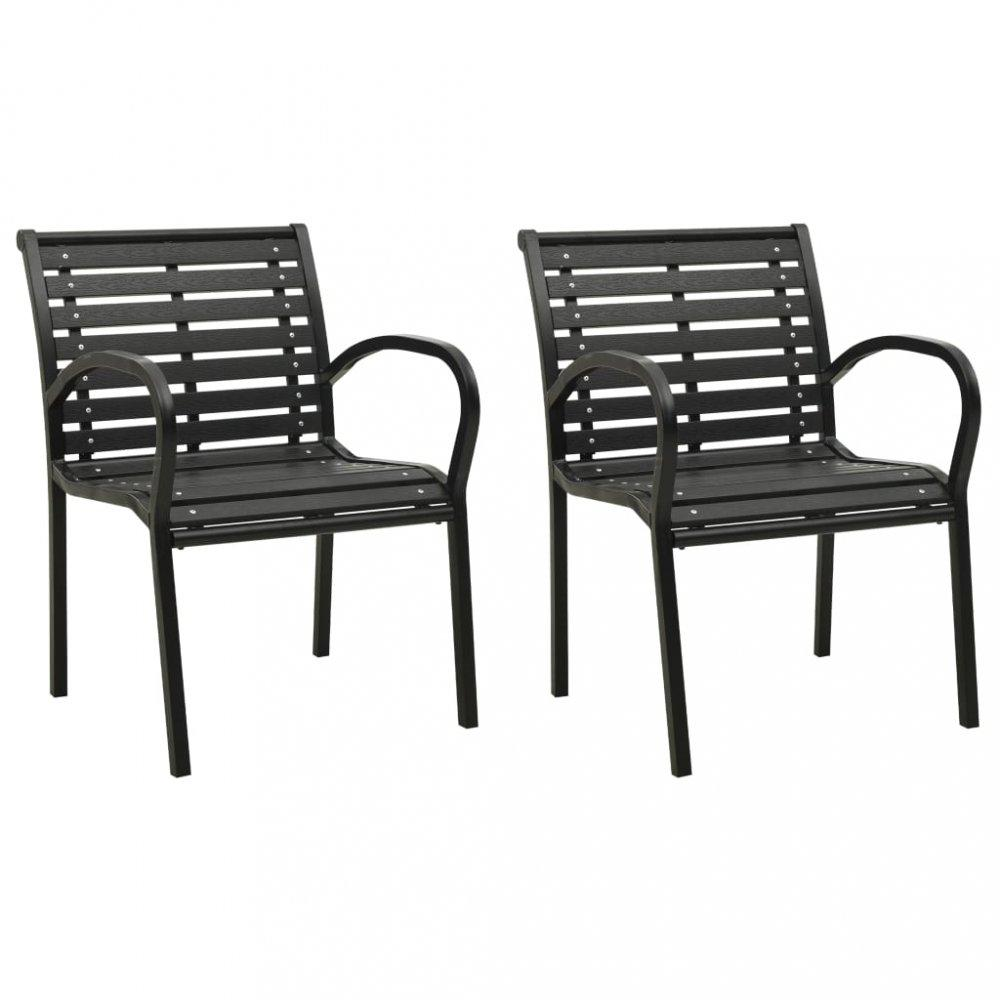 Záhradné stoličky 2 ks čierna Dekorhome