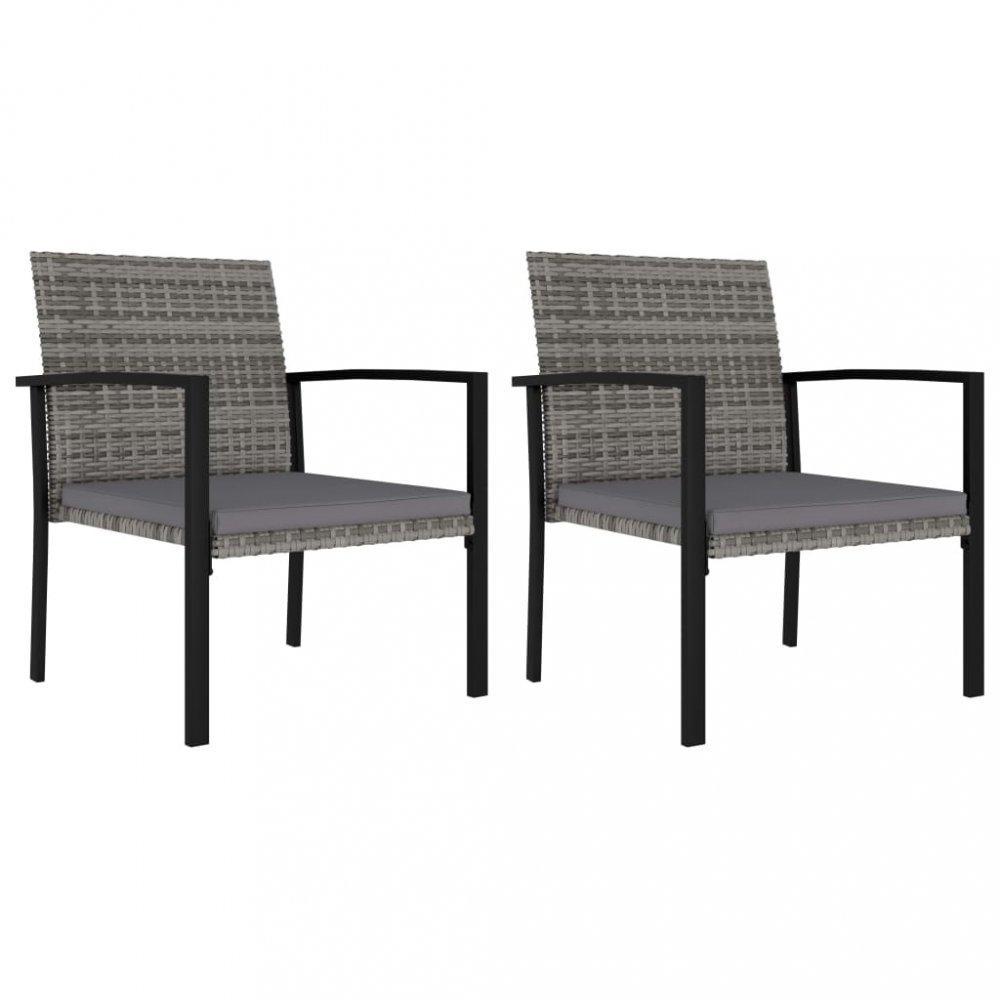 Záhradné stoličky 2 ks polyratan / látka Dekorhome Sivá