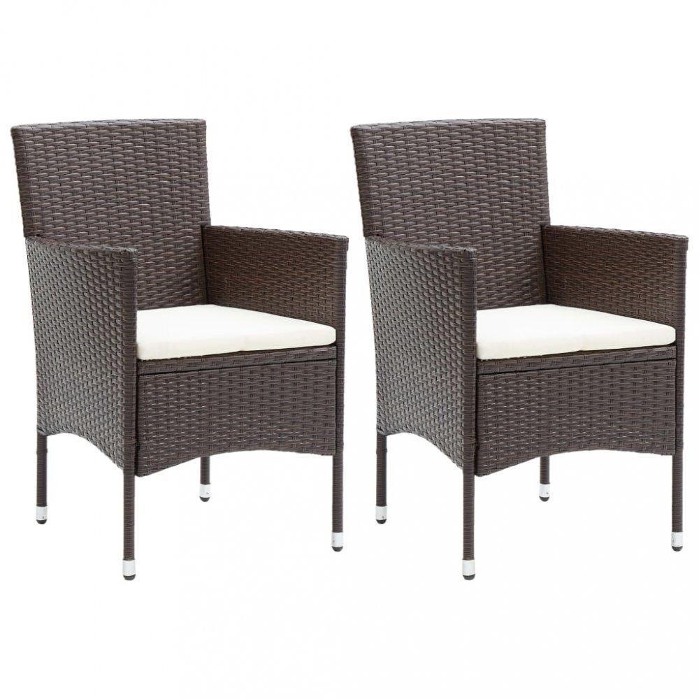 Záhradné stoličky 2 ks umelý ratan Dekorhome Hnedá