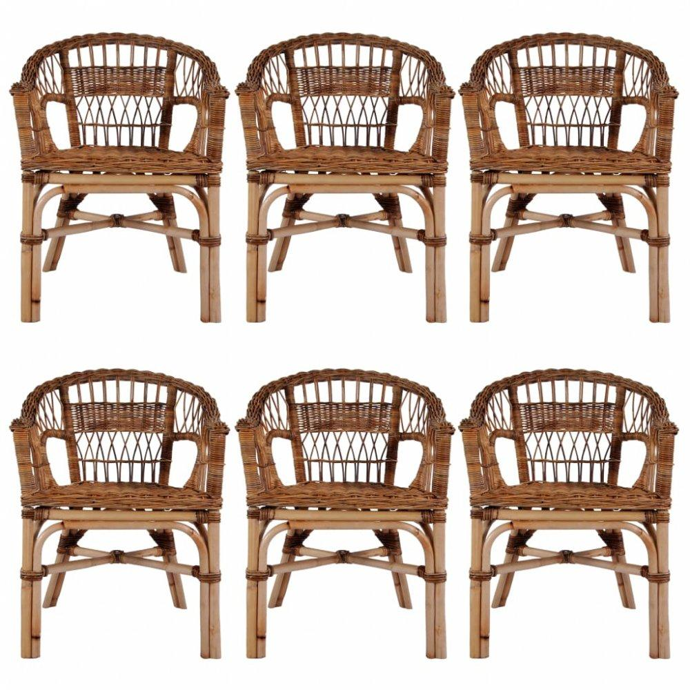 Záhradné stoličky 6 ks hnedý ratan Dekorhome