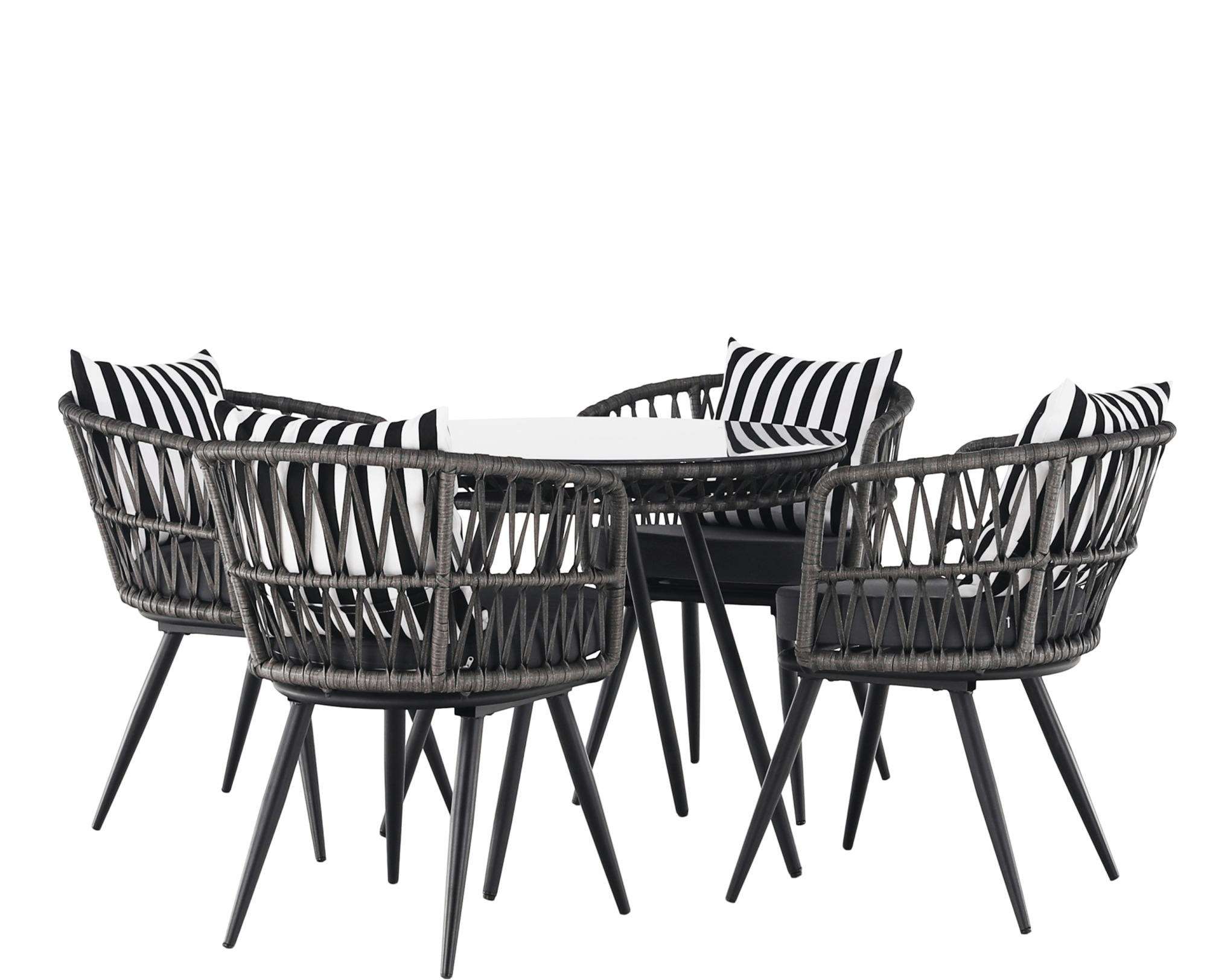 Záhradný 5-dielny ratanový set, čierna/sivá/čierno-biely pásik, HABIK